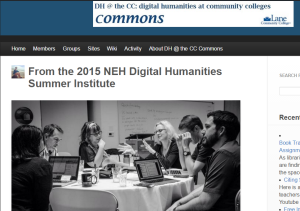 DH at the CC Commons is a community of practice begun at the NEH ODH Advanced Topics Summer Institute 2015
