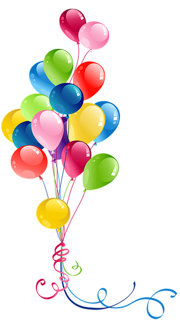 drawing of multicolored balloon bundle