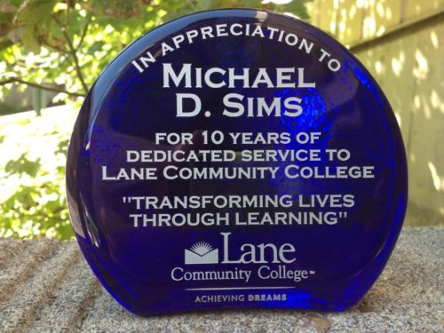 Lane recognizes Michael Sims for 10 years dedicated service