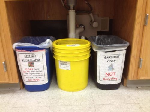 Cooperative Education uses the labeled recycling system