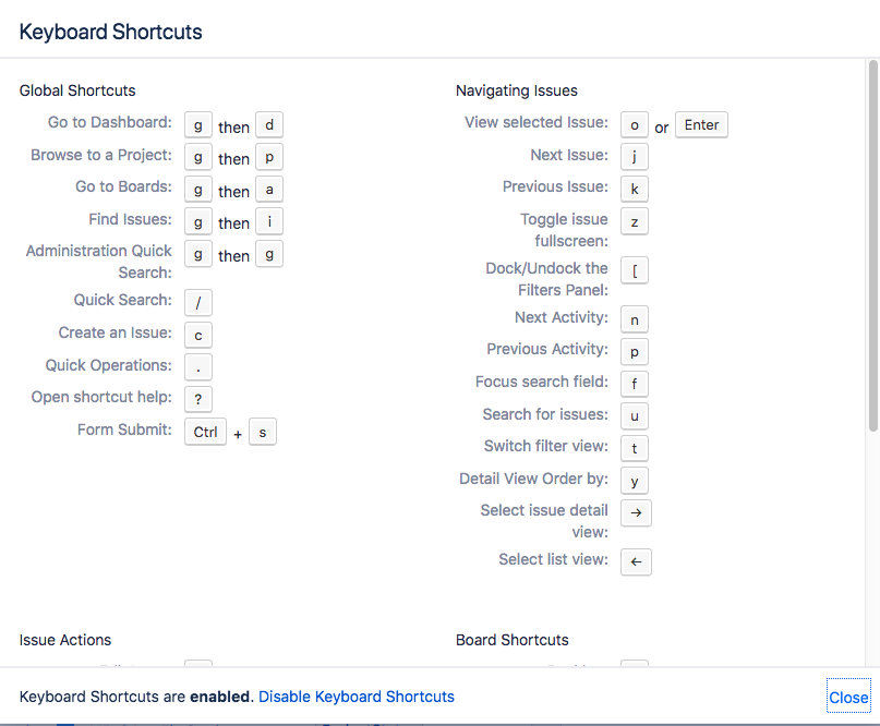 Jira Keyboard Shortcuts