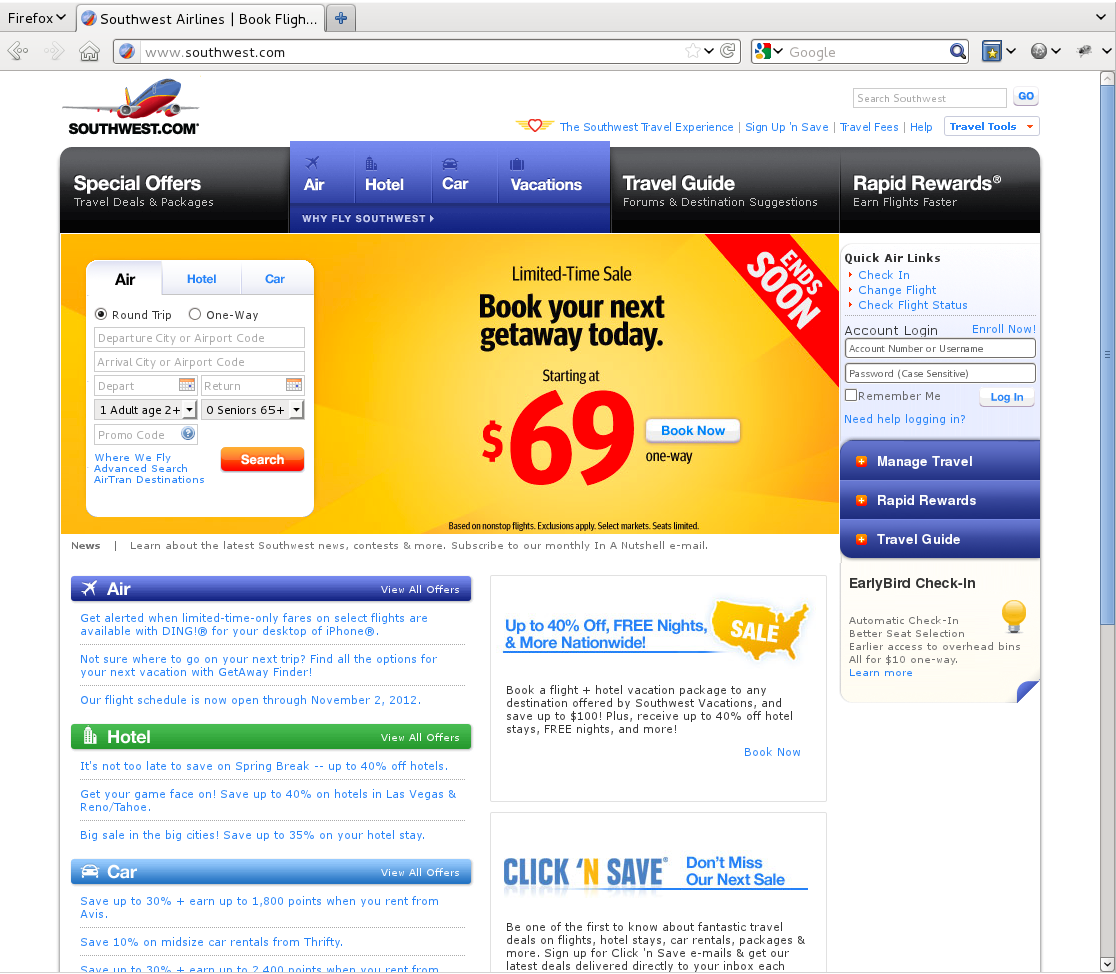 Southwest's website on the desktop