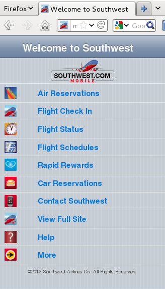 Southwest's website, viewed from an iPhone