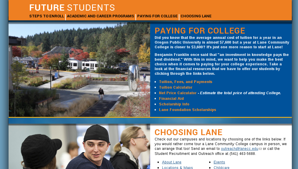 The 'Paying for College' category of links. These are viewable at http://www2dev.lanecc.edu/future#PayingforCollege