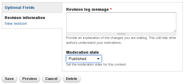 Shows a Revision Log Message box, above a dropdown for moderation state.