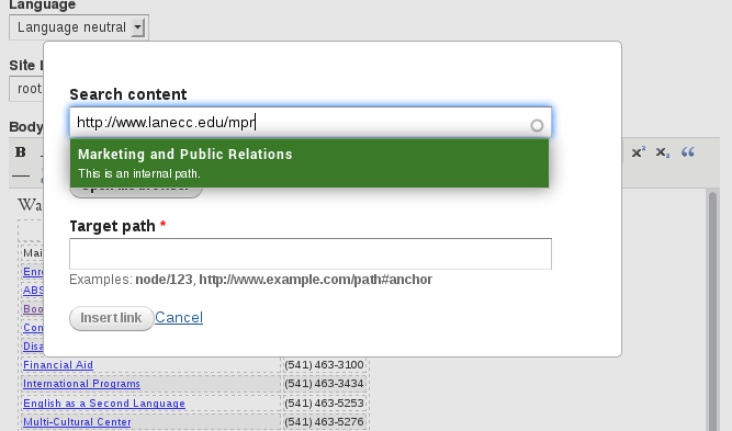 The new LinkIt dialog, showing a box that appears when you paste an internal link in the search box