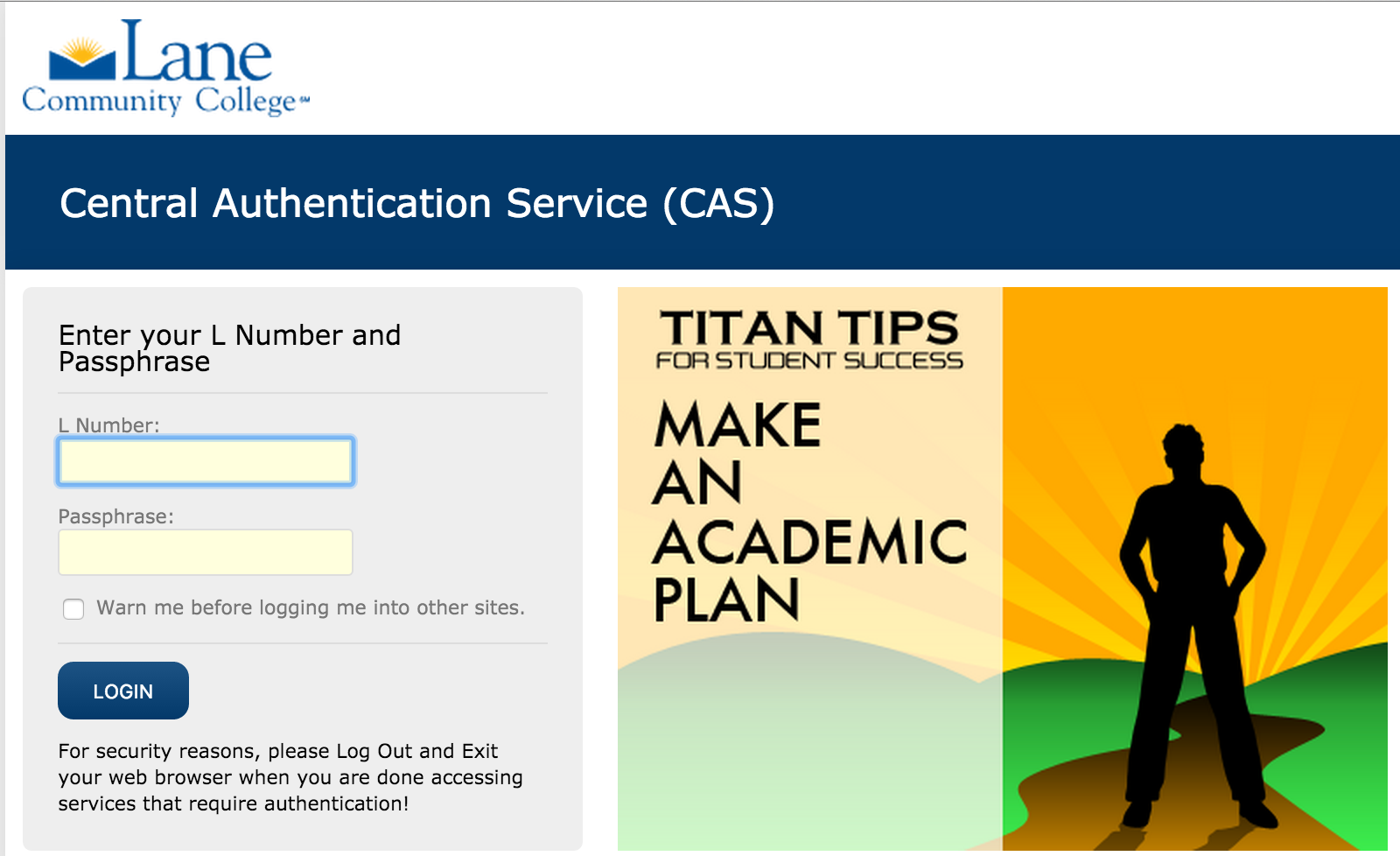Screenshot of the CAS login screen