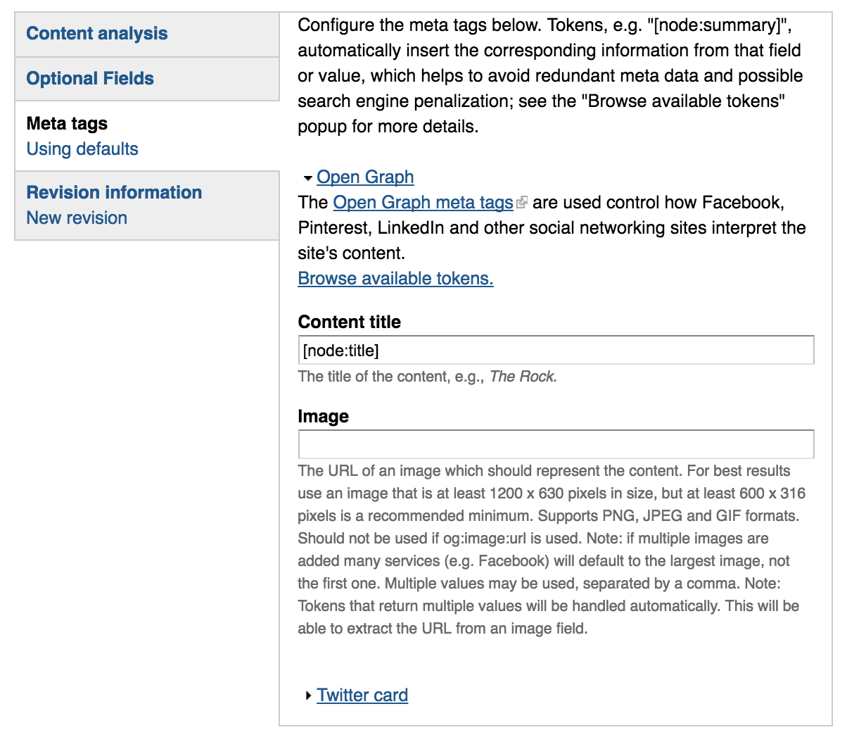 Drupal Metatags tab. Relevant fields are further explained in the following text
