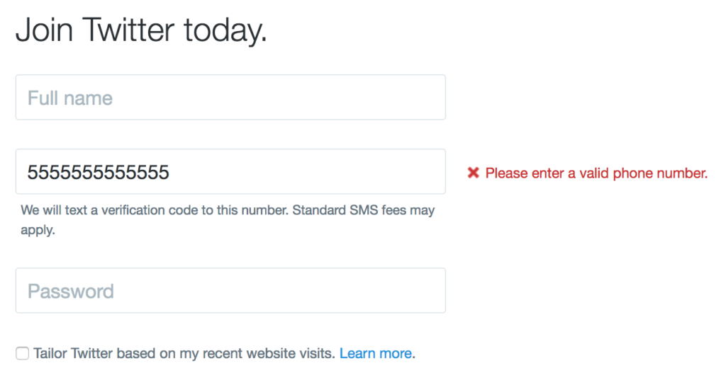 Screen shot of the Twitter sign up form, showing an error message next to an invalid phone number
