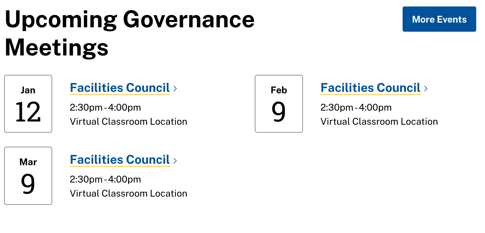 Screenshot of an events feed, showing three upcoming facilities council events